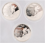 U.S. KOREAN WAR MEMORIAL SILVER DOLLARS - LOT OF 3