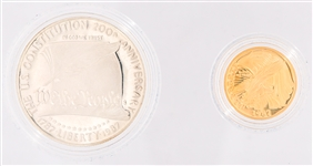 U.S. CONSTITUTION COMMEMORATIVE SILVER & GOLD COIN SET