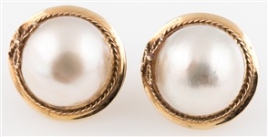 14K YELLOW GOLD MABE PEARL LEVER BACK EARRINGS
