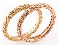 14K YELLOW & ROSE GOLD SCROLL PATTERN BANDS LOT OF 2