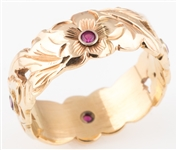 14K YELLOW GOLD & RUBY FLORAL WIDE BAND RING