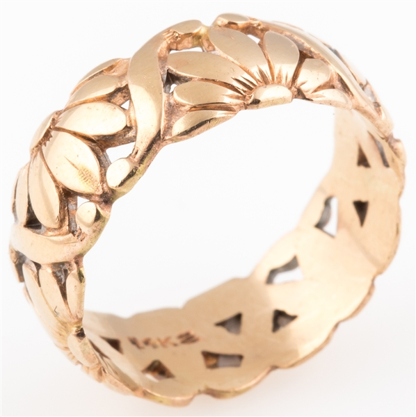 14K YELLOW GOLD FLORAL WIDE BAND RING
