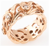14K YELLOW GOLD & DIAMOND FLORAL WIDE BAND RING