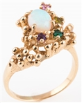 14K YELLOW GOLD OPAL & MULTI-STONE FREE FORM RING