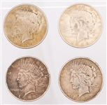 UNITED STATES SILVER PEACE DOLLARS - LOT OF 4