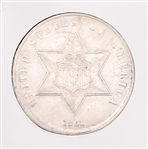 1861 UNITED STATES SILVER 3 CENT PIECE TYPE 3