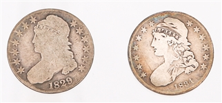 1829 & 1834 UNITED STATES CAPPED BUST HALF DOLLARS