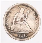1875 SAN FRANCISCO MINT 20 CENT PIECE SILVER COIN