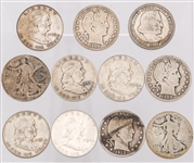 UNITED STATES 90% SILVER HALF DOLLARS - LOT OF 11
