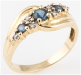 14K GOLD RING WITH BLUE SAPPHIRE STONES