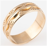 9K YELLOW GOLD PATTERNED BAND