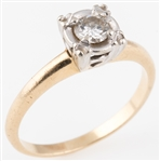 14K YELLOW GOLD .25 CT DIAMOND SOLITAIRE RING
