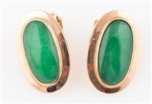 14K YELLOW GOLD JADE CABOCHON CLIP ON EARRINGS