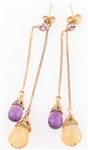 14K GOLD DROP EARRINGS WITH CITRINE AND AMETHYST