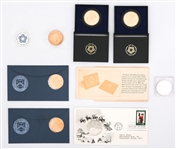 MODERN COINS & MEDALS - SILVER & BRASS MIXED LOT