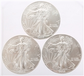 2002 UNITED STATES SILVER AMERICAN EAGLES - LOT OF 3