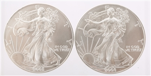 2002 UNITED STATES SILVER AMERICAN EAGLES - LOT OF 2