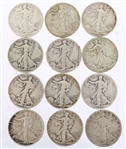 UNITED STATES WALKING LIBERTY HALF DOLLARS - LOT OF 12