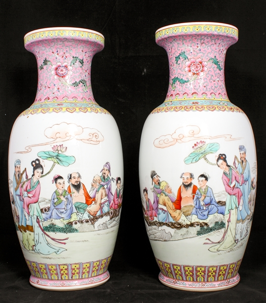 CHINESE FAMILLE ROSE VASES DEPICTING 8 IMMORTALS - PAIR