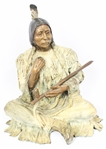MARIE BARBERA CAST BRONZE NATIVE AMERICAN WITH PIPE
