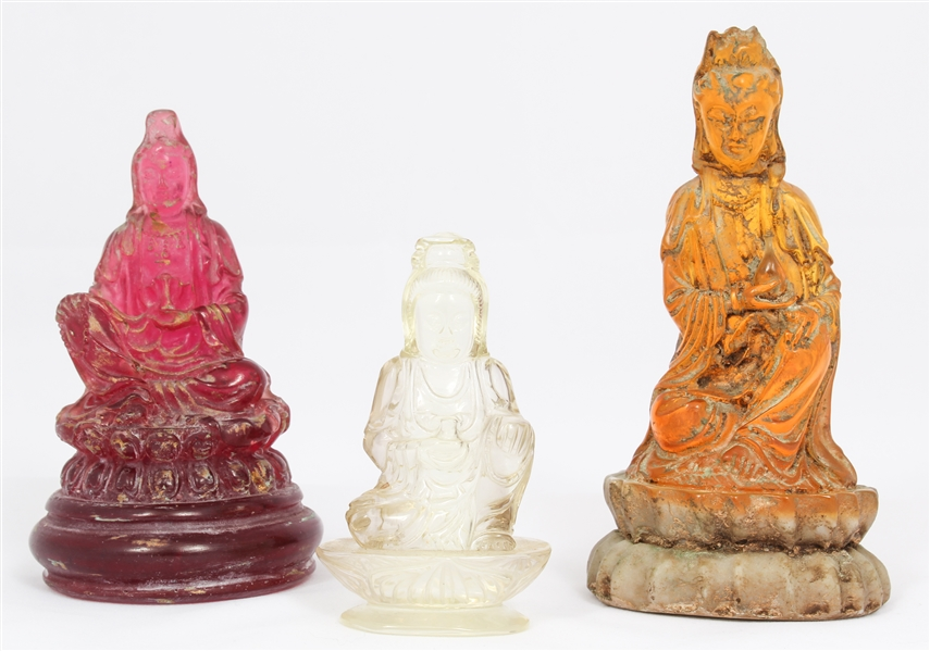 CHINESE GUANYIN FIGURINES - ROCK CRYSTAL & RESIN