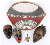 20TH CENTURY AFRICAN MASKS, BEADED PURSE, & ZULU SHIELD