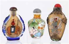 CHINESE GLASS SNUFF BOTTLES LOT OF 3