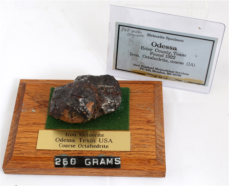 1922 ODESSA METEORITE 260.5 GRAMS WITH WOODEN STAND