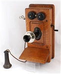 EARLY 20TH C. KELLOGG OAK WALL TELEPHONE