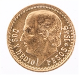 2.5 PESO MEXICAN 1945 GOLD COIN