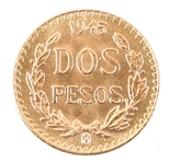 MEXICAN 1945 GOLD COIN 2 PESO