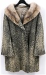 WOMENS CURLY LAMB COAT WITH MINK COLLAR