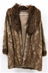 WOMENS CHINCHILLA COAT WITH MINK COLLAR
