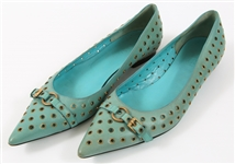 GUCCI TURQUOISE LEATHER WOMENS FLATS