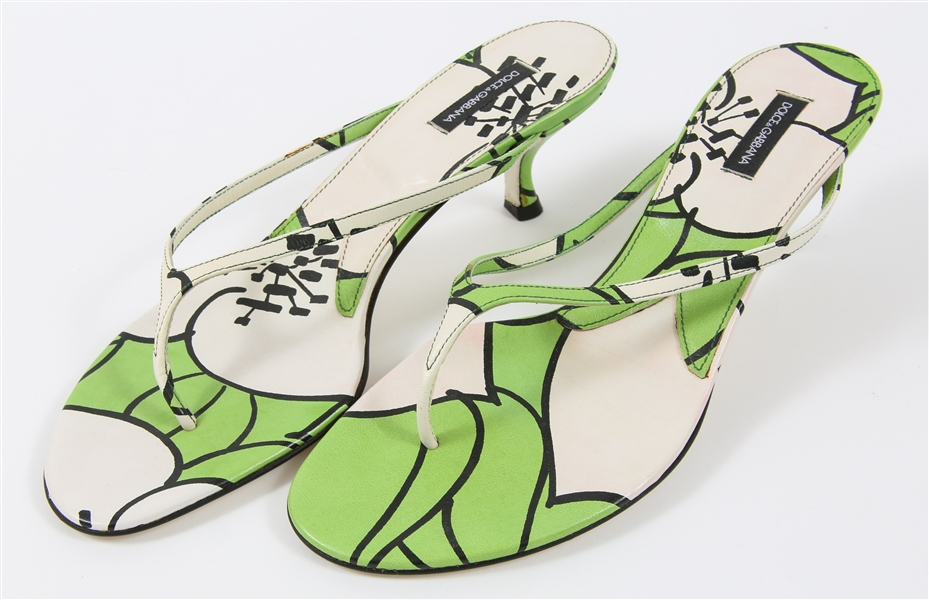 DOLCE & GABBANA LOW-HEELED SANDALS - GREEN/WHITE