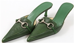 GUCCI LEATHER MULES WITH BUCKLE - GREEN