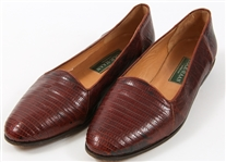 WOMENS COLE HAAN BROWN ALLIGATOR LOAFERS