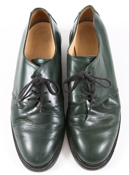 WOMENS CALVIN KLEIN GREEN LEATHER OXFORDS
