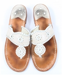 JACK ROGERS NANTUCKET LEATHER SANDALS - WHITE