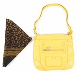 YELLOW LEATHER SHOULDER BAG AND LEOPARD PRINT PASHMINA