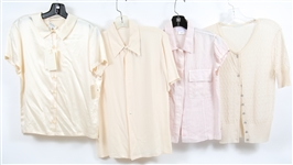 WOMENS LIGHT-COLORED, SHORT SLEEVED BLOUSES - LOT OF 4
