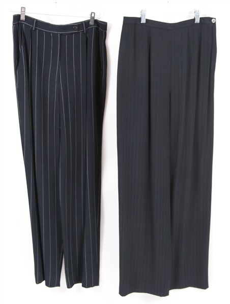 WOMENS GIORGIO ARMANI NAVY BLUE TROUSERS - LOT OF 2