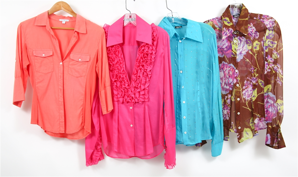 WOMENS COLORFUL DESIGNER BLOUSES - LOT OF 4