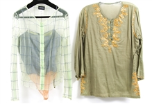 WOMENS GREEN-HUED BLOUSES - LOT OF 2