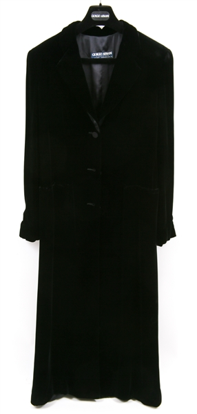 WOMENS GIORGIO ARMANI BLACK VELVET EVENING TRENCH COAT