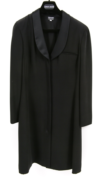 WOMENS GIORGIO ARMANI LONG BLACK SILK COAT