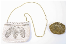 WOMENS BEADED SHOULDER BAG AND CHANGE PURSE