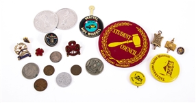 MISCELLANEOUS PINS, TOKENS - GIRL SCOUTS, NOVELTY, & MORE