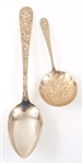 KIRK & SON STERLING SILVER REPOUSSE SERVING SPOONS