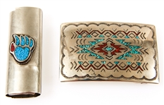 NICKEL SILVER TURQUOISE CORAL INLAY CASE & BUCKLE